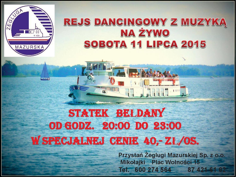 Rejs w Mikołajkach na statku Bełdany